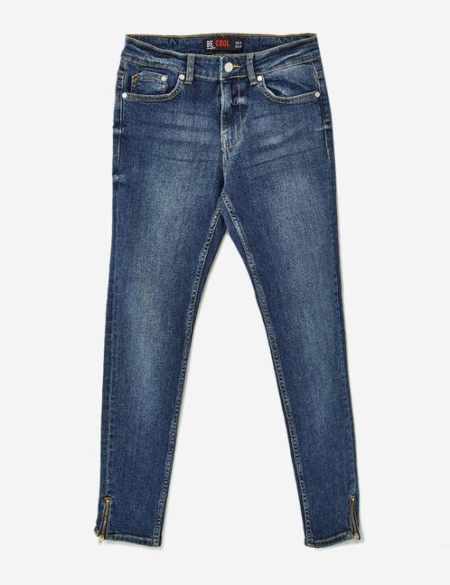 Medium blue skinny jeans with zip detail