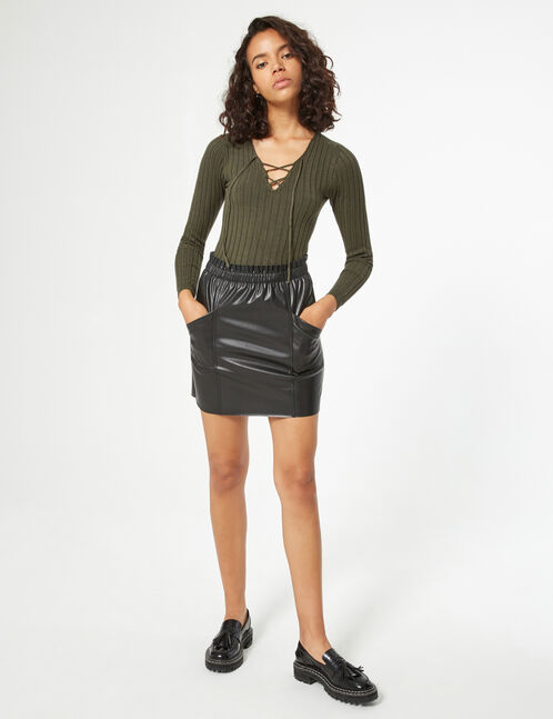 Ribbed jumper with lacing detail