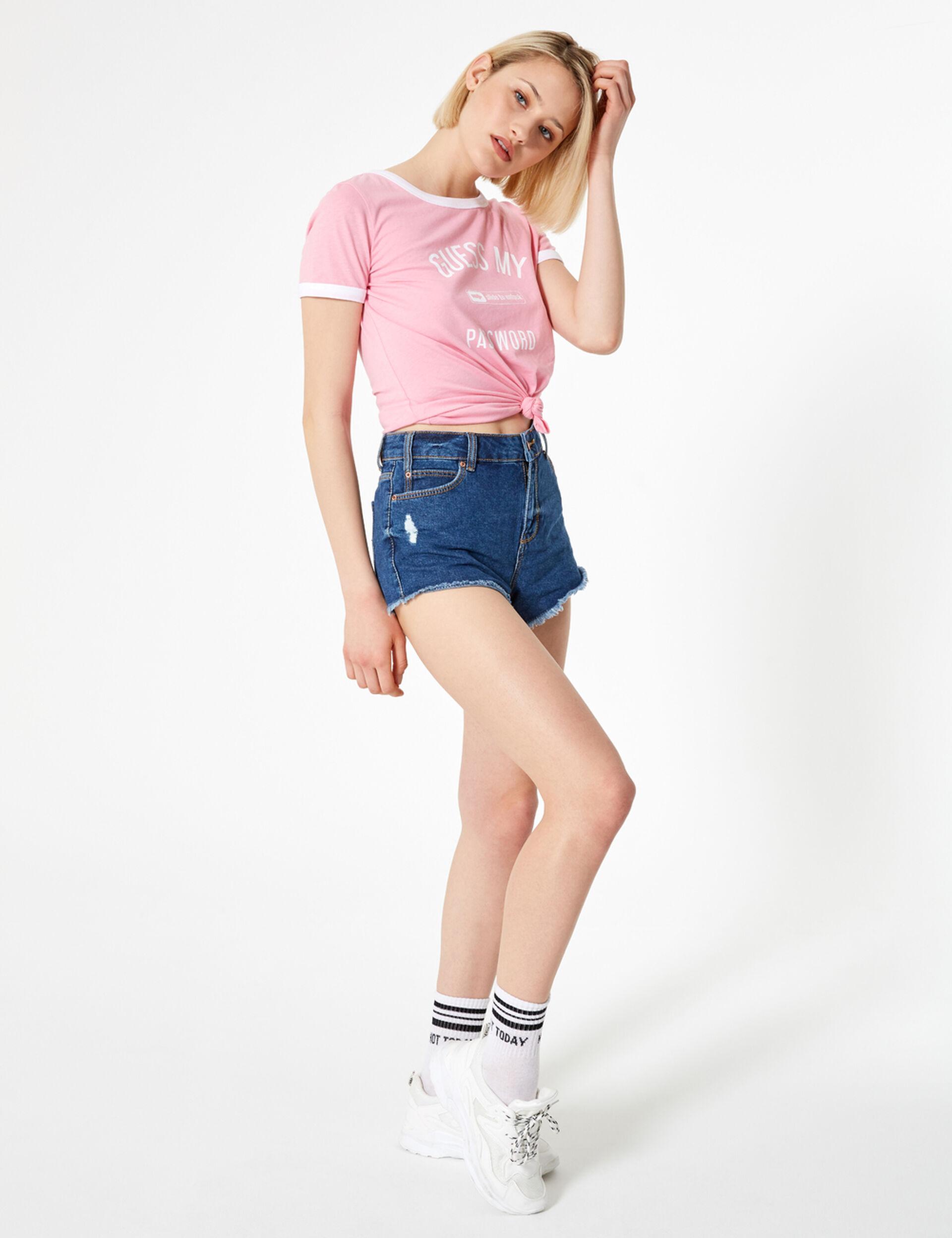 High-waisted medium blue denim shorts