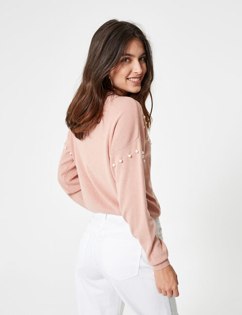 Light pink jumper with beading detail