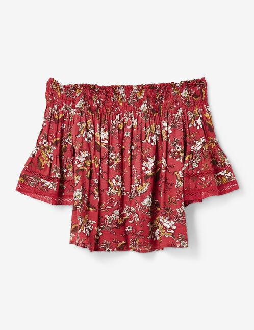 blouse épaules dénudées bordeaux