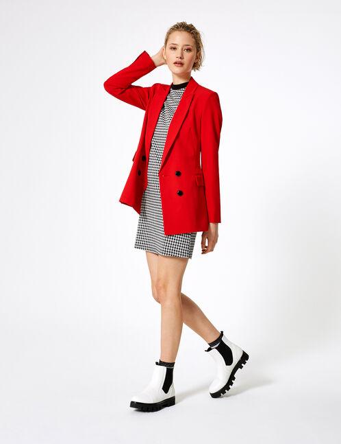 Red blazer with button detail