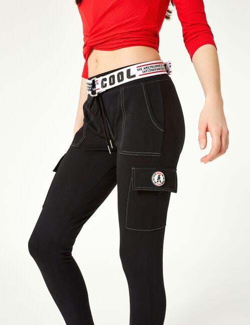 Black slim-leg combat joggers