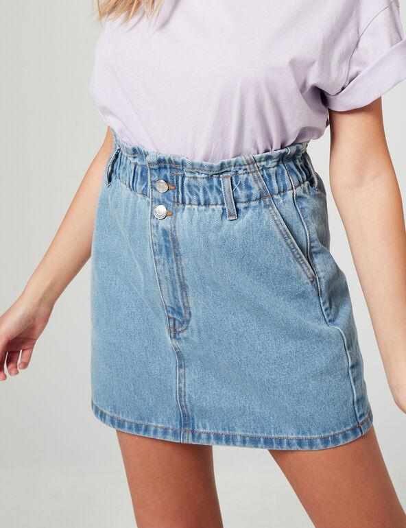 High-waisted denim skirt