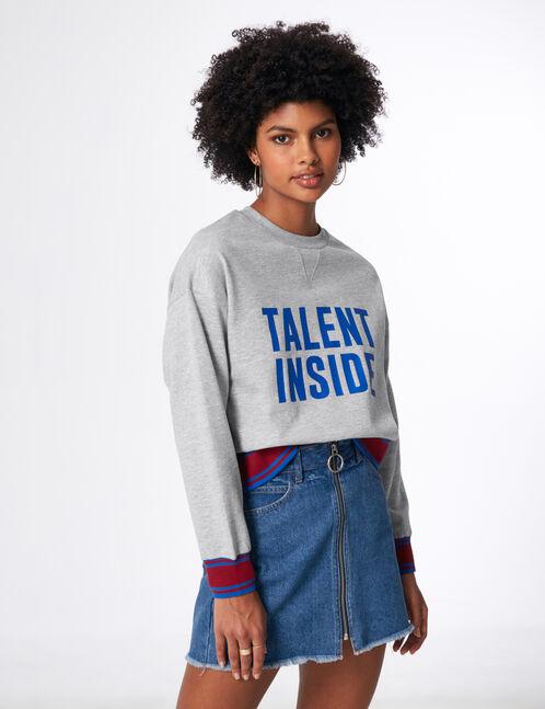 "Grey marl ""talent inside"" sweatshirt"