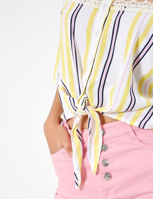Cream, pale pink, navy blue and yellow floral blouse with lace detail