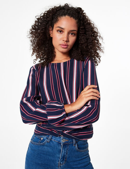 Striped tie-fastening blouse