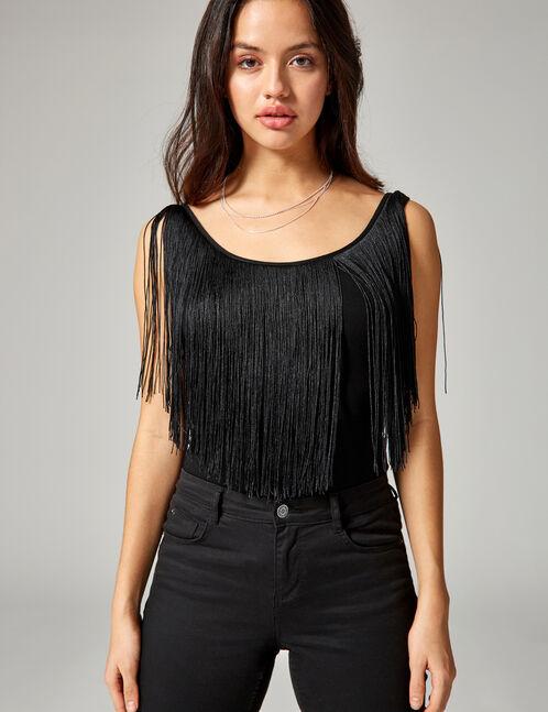 Black bodysuit with fringing detail
