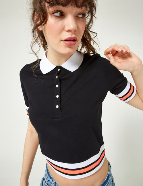 Black, white and neon pink polo shirt-style T-shirt