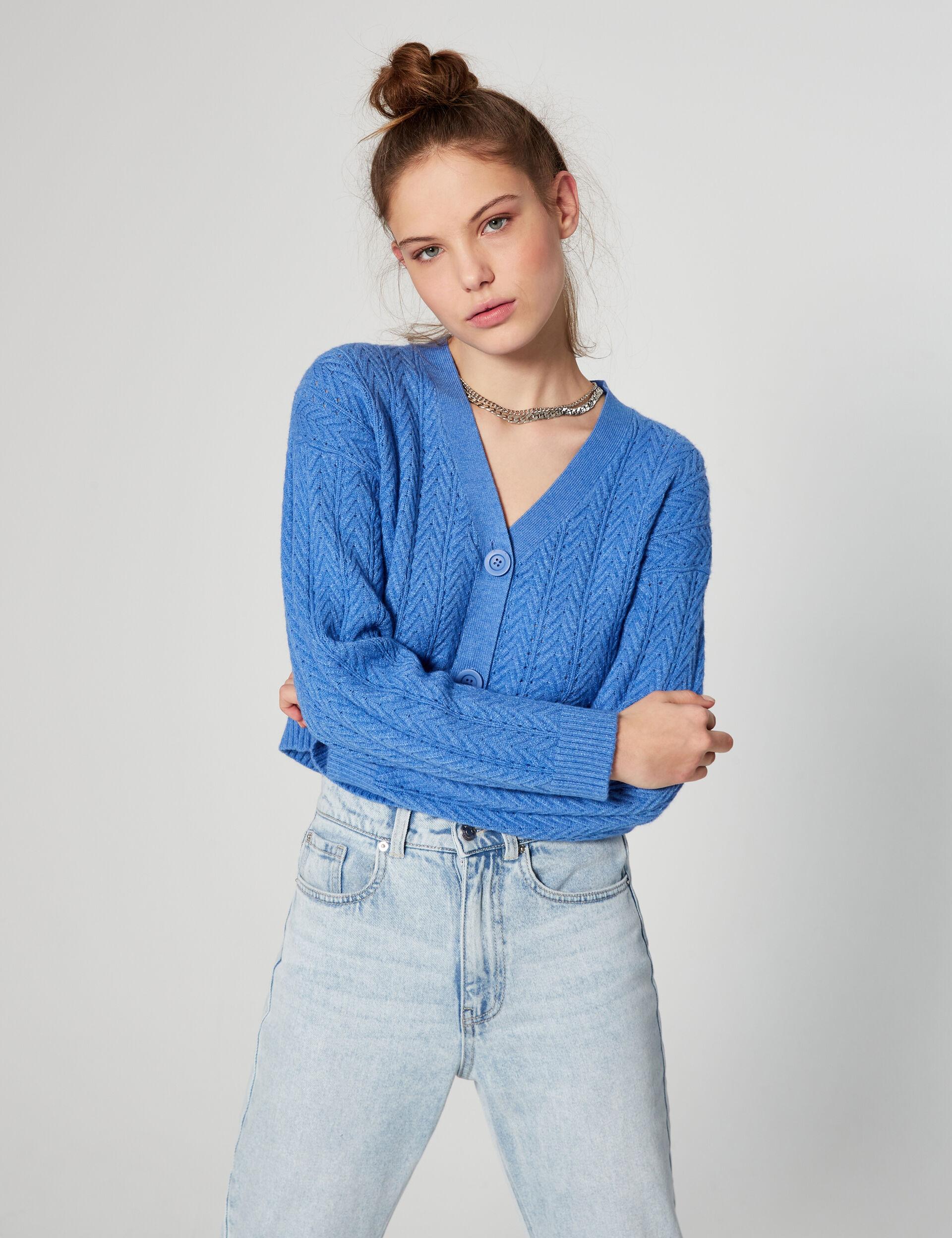 Chevron-knit cardigan