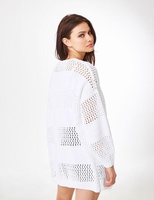 White openwork cardigan