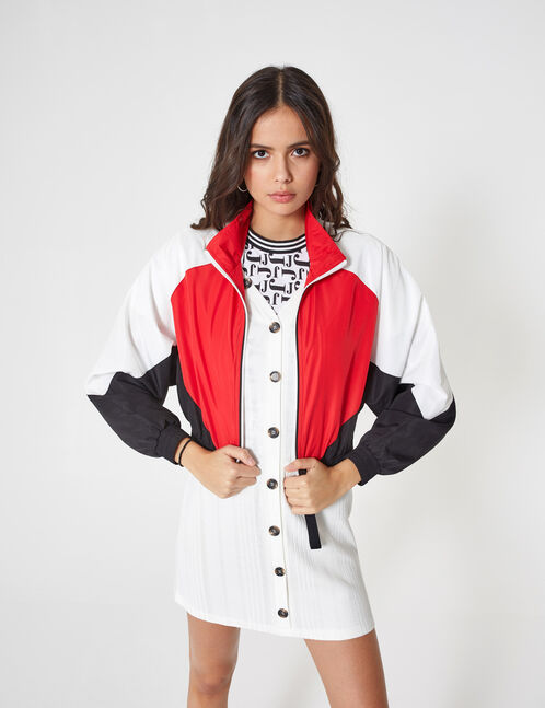 Red lightweight jacket with seam detail