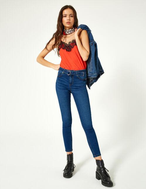 Denim blue belted jeans
