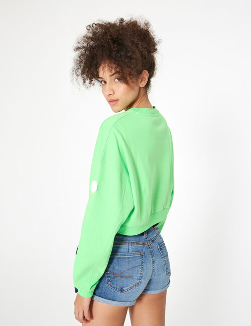 Cropped neon green sweatshirt