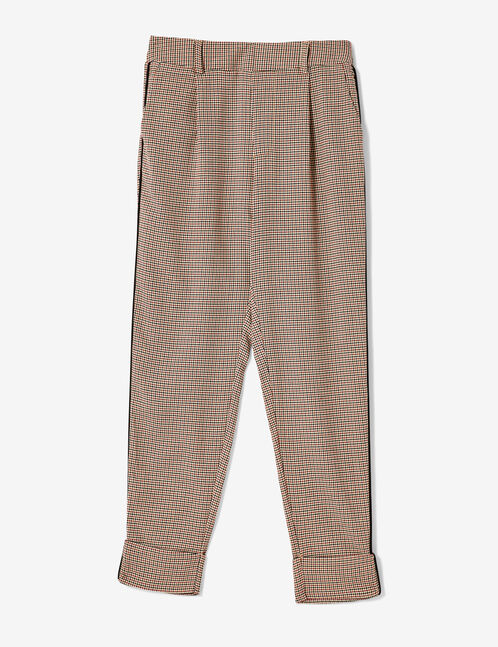 Beige, black and burgundy puppytooth trousers