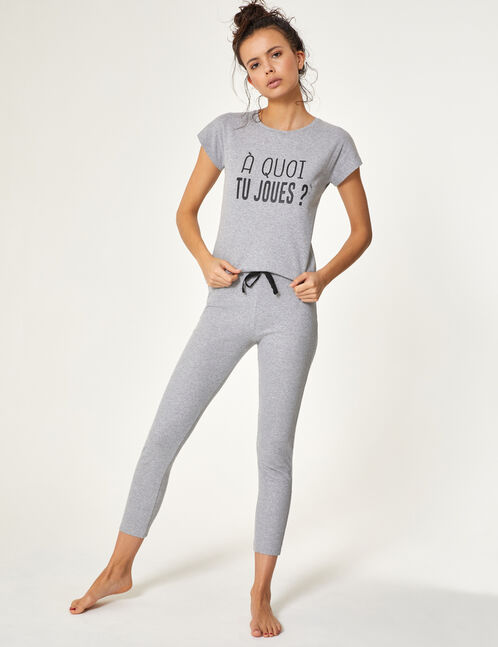 set pyjama à message gris chiné
