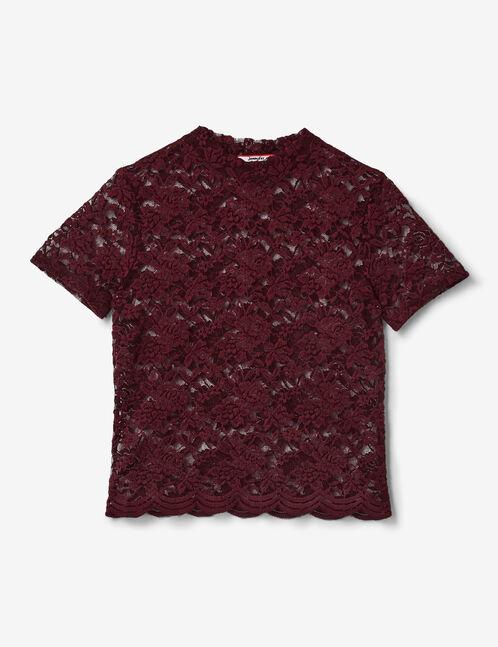tee-shirt en dentelle bordeaux