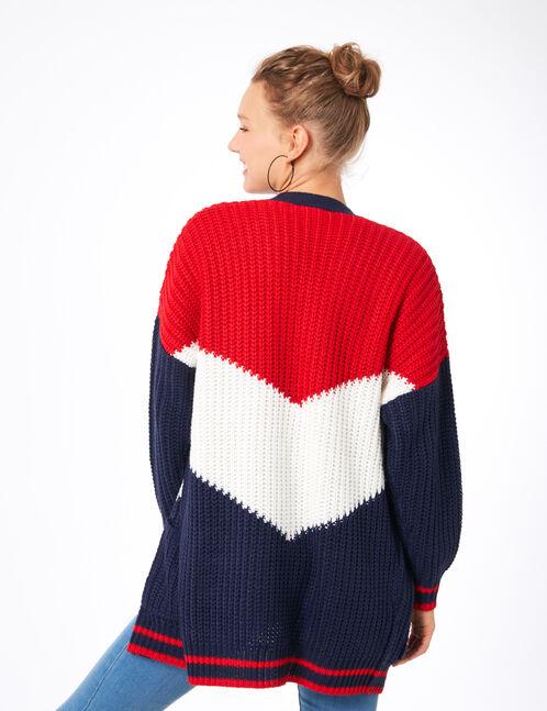 gilet tricolore bleu marine, rouge et blanc