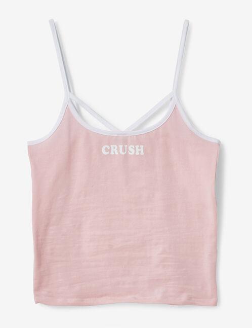 débardeur crush rose clair et blanc