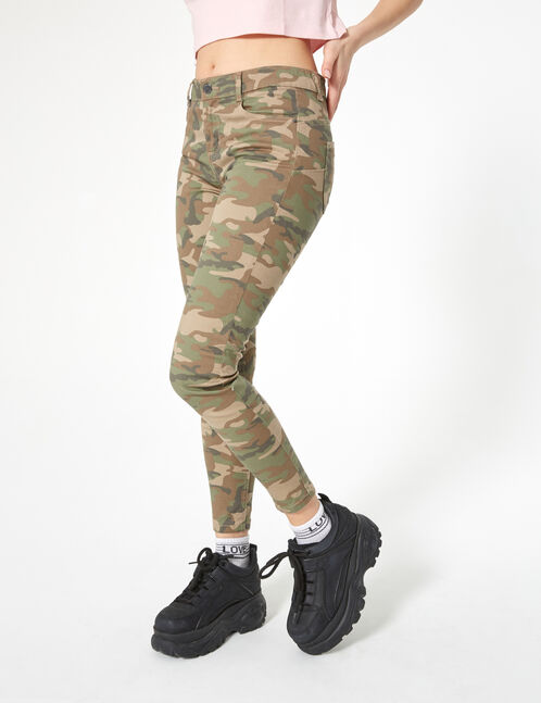 Khaki camouflage high-waisted skinny trousers