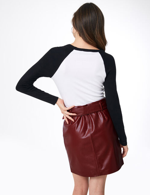 Burgundy faux leather skirt with belt