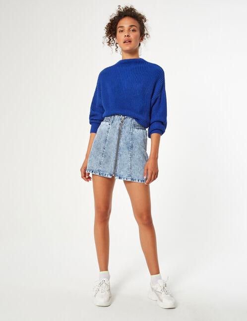 Denim skirt with zip detail