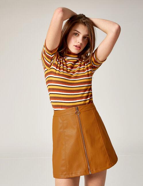 Camel zipped skirt