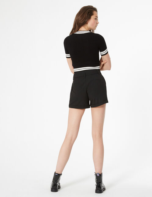 belted high-waisted shorts