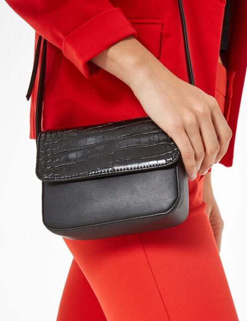 sac avec rabat python noir
