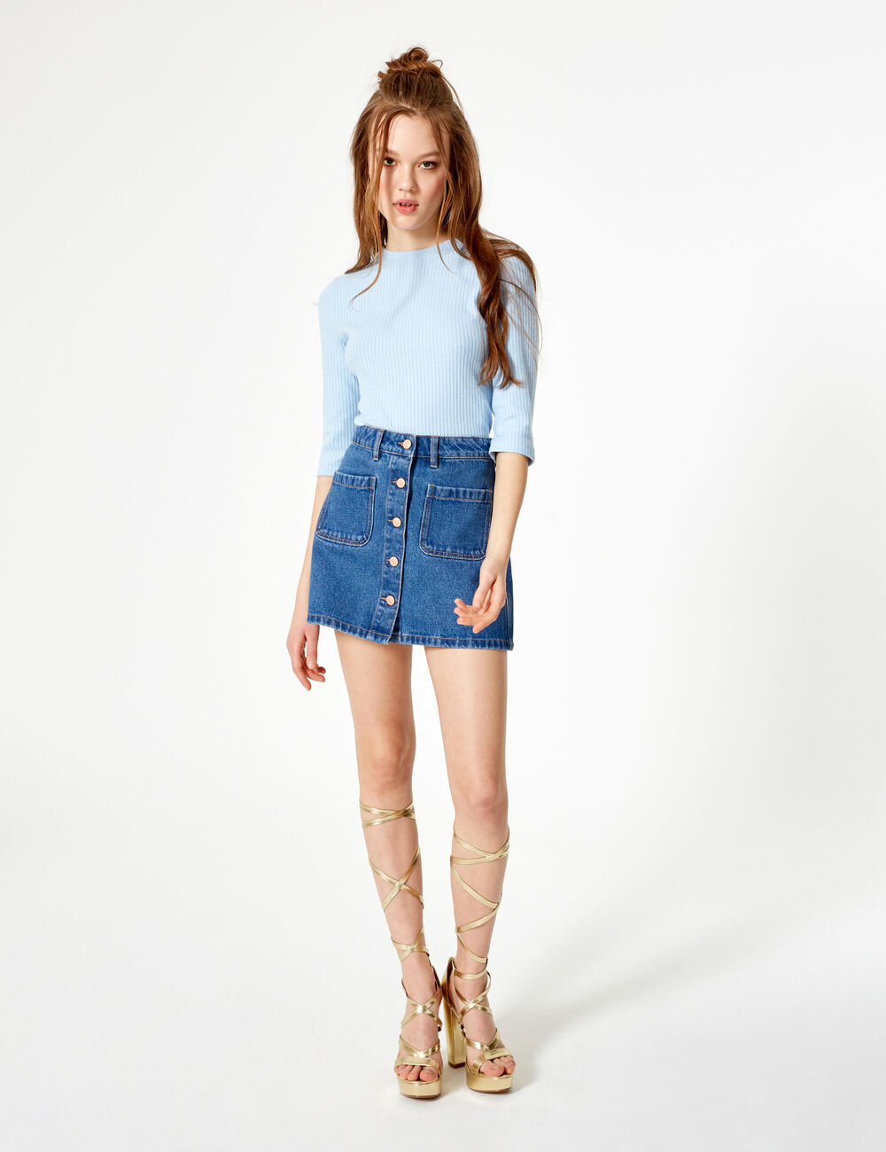 7b4185586f6712 jupe en jean boutonnée medium blue