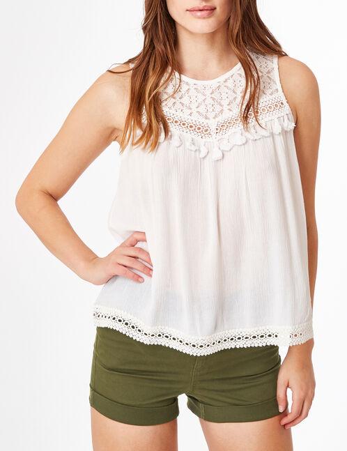 Cream mixed fabric blouse