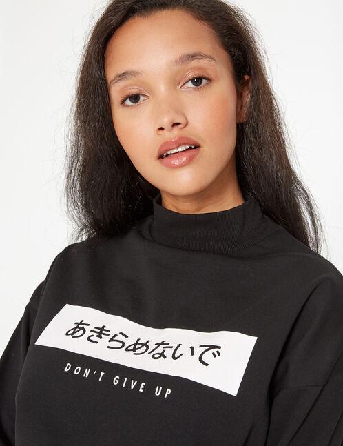 high collar sweatshirt with message