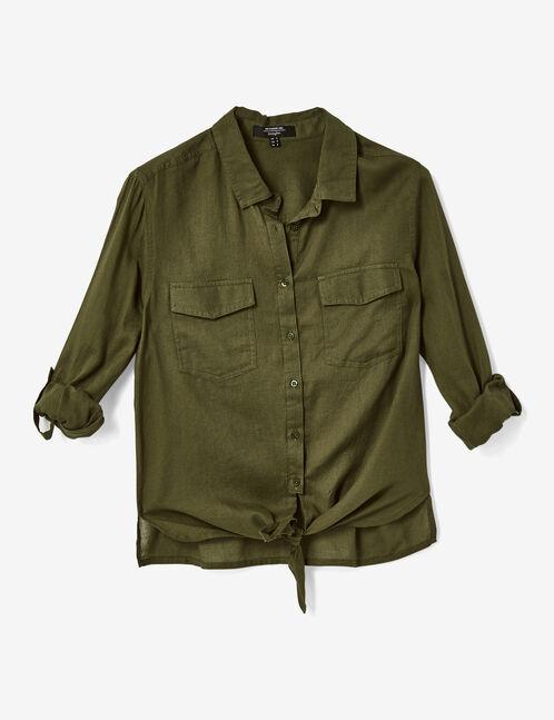 Khaki tie-fastening shirt
