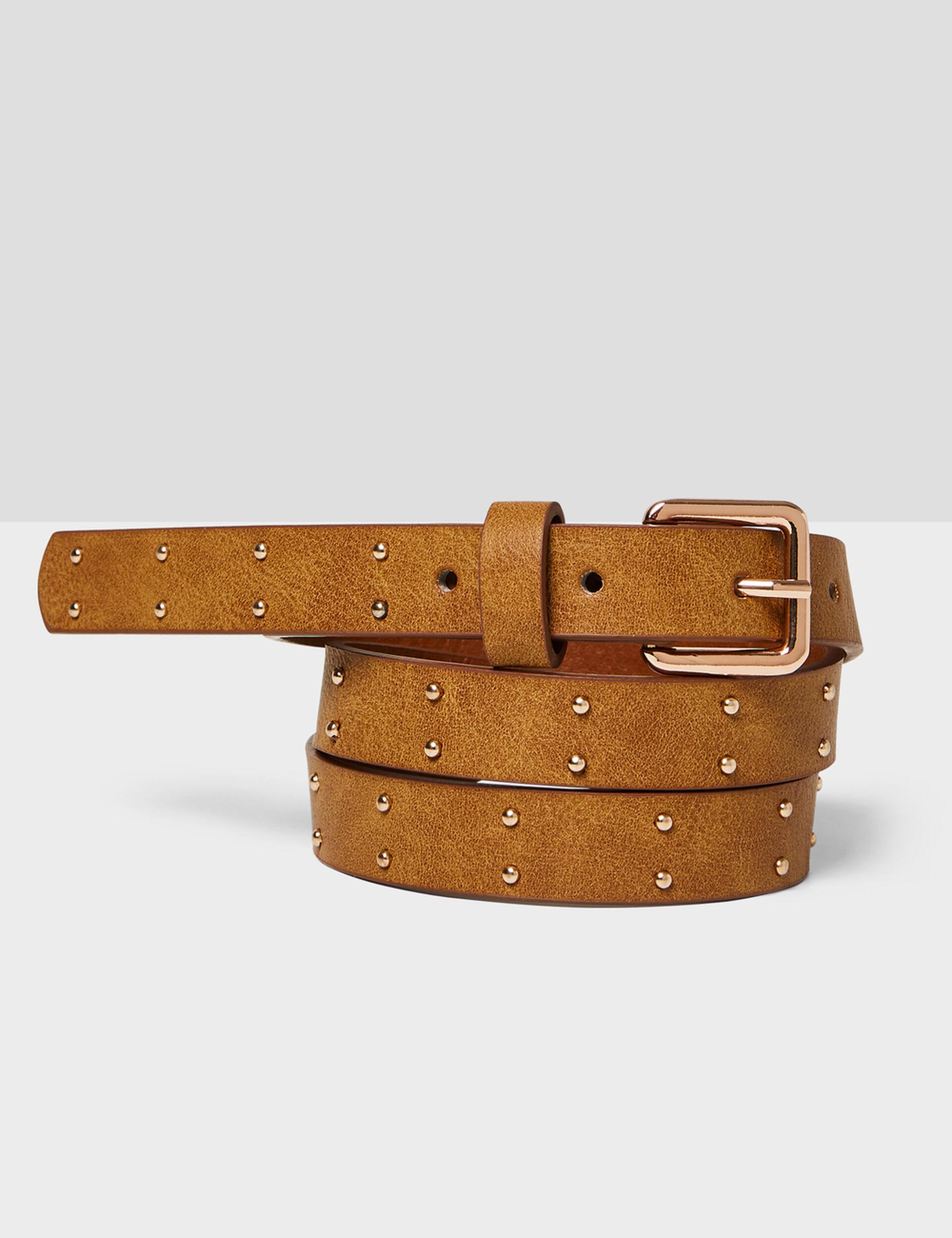 ceinture fine cloutée camel