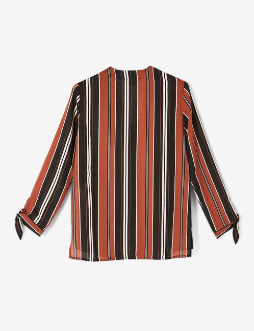 chemise rayée col v rouille, noire et écrue