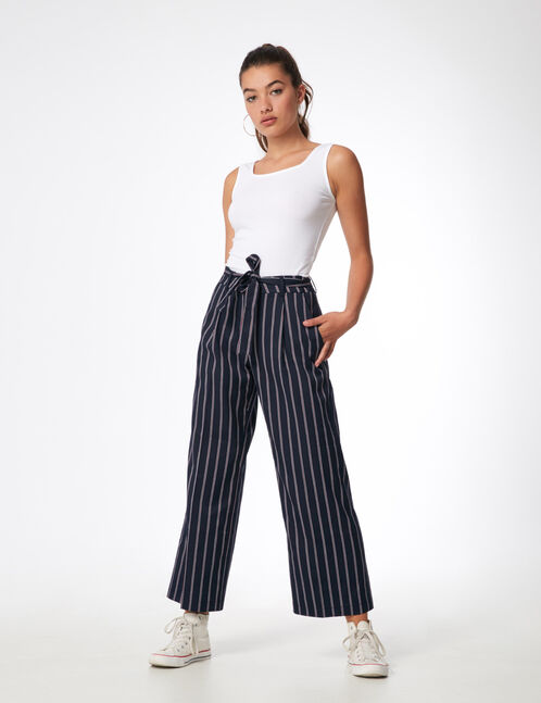 Navy blue striped wide-leg trousers