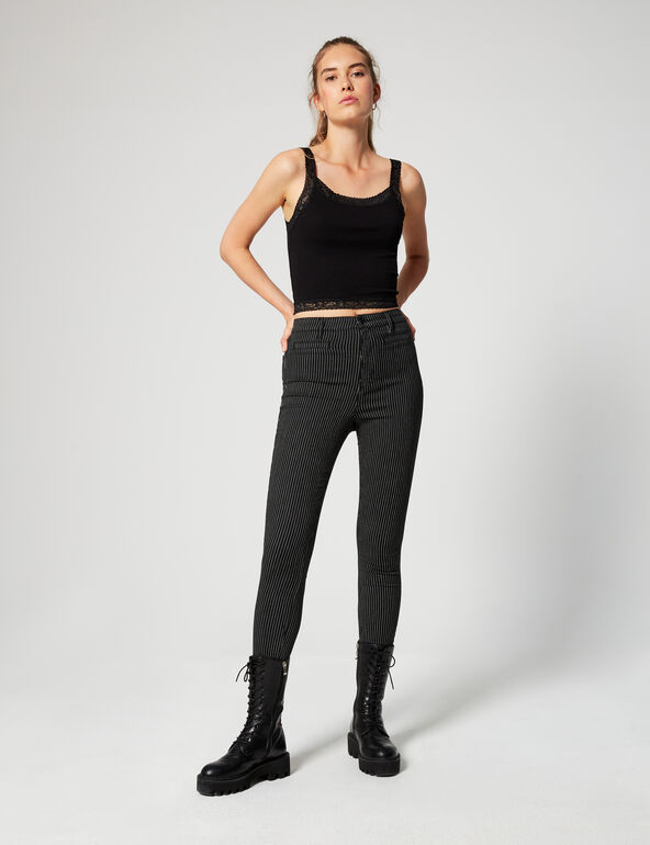 Jegging taille haute rayé