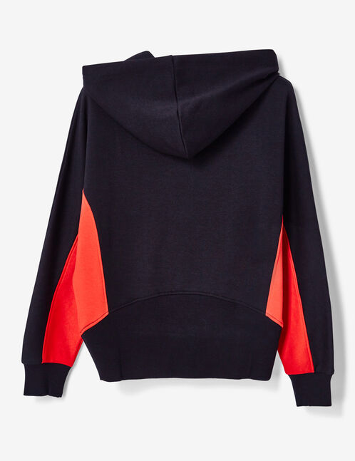 Black and red two-tone zip-up hoodie