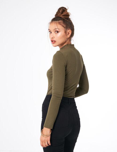 Khaki bodysuit with lacing detail