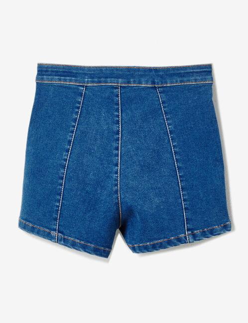 short en jean taille haute medium blue