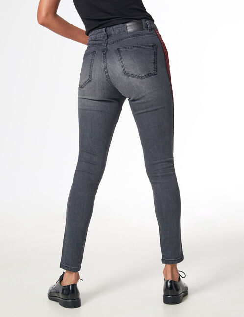 Grey jeans with side stripe detail