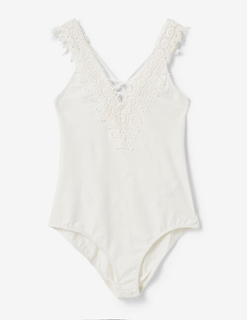Cream bodysuit with lace detail and lacing