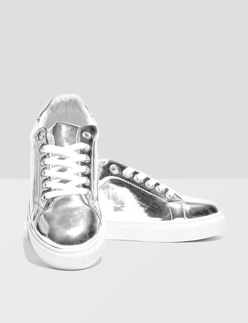 Silver mirror-effect trainers