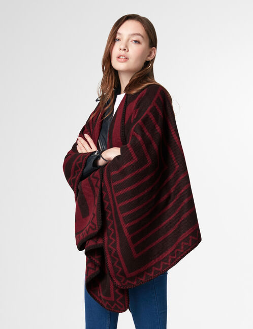 Black and red geometric patterned cape