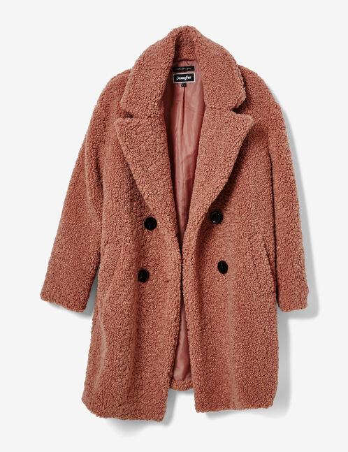 manteau fausse fourrure rose clair