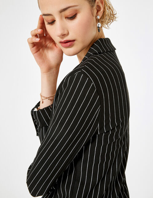 blazer long rayé noir et blanc