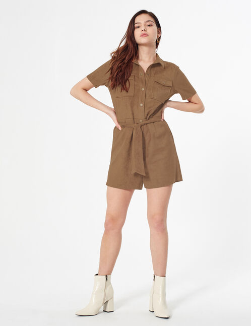 faux suede playsuit