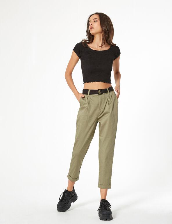 Pantalon avec ceinture kaki clair