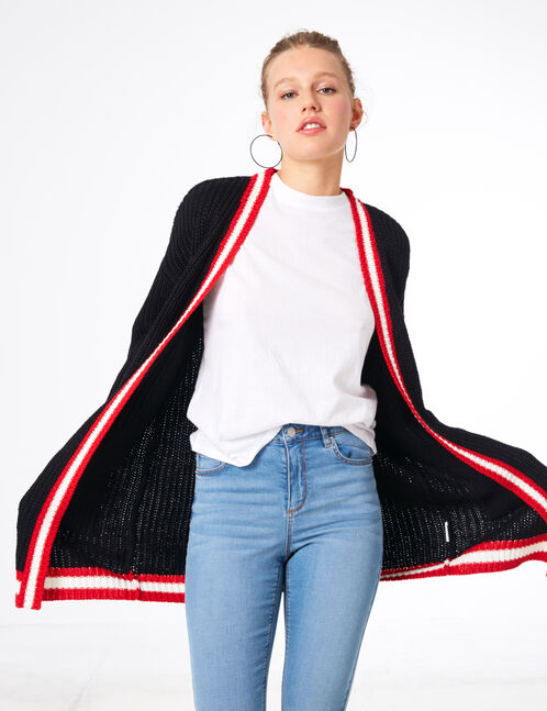 Long black, cream and red cardigan with pockets