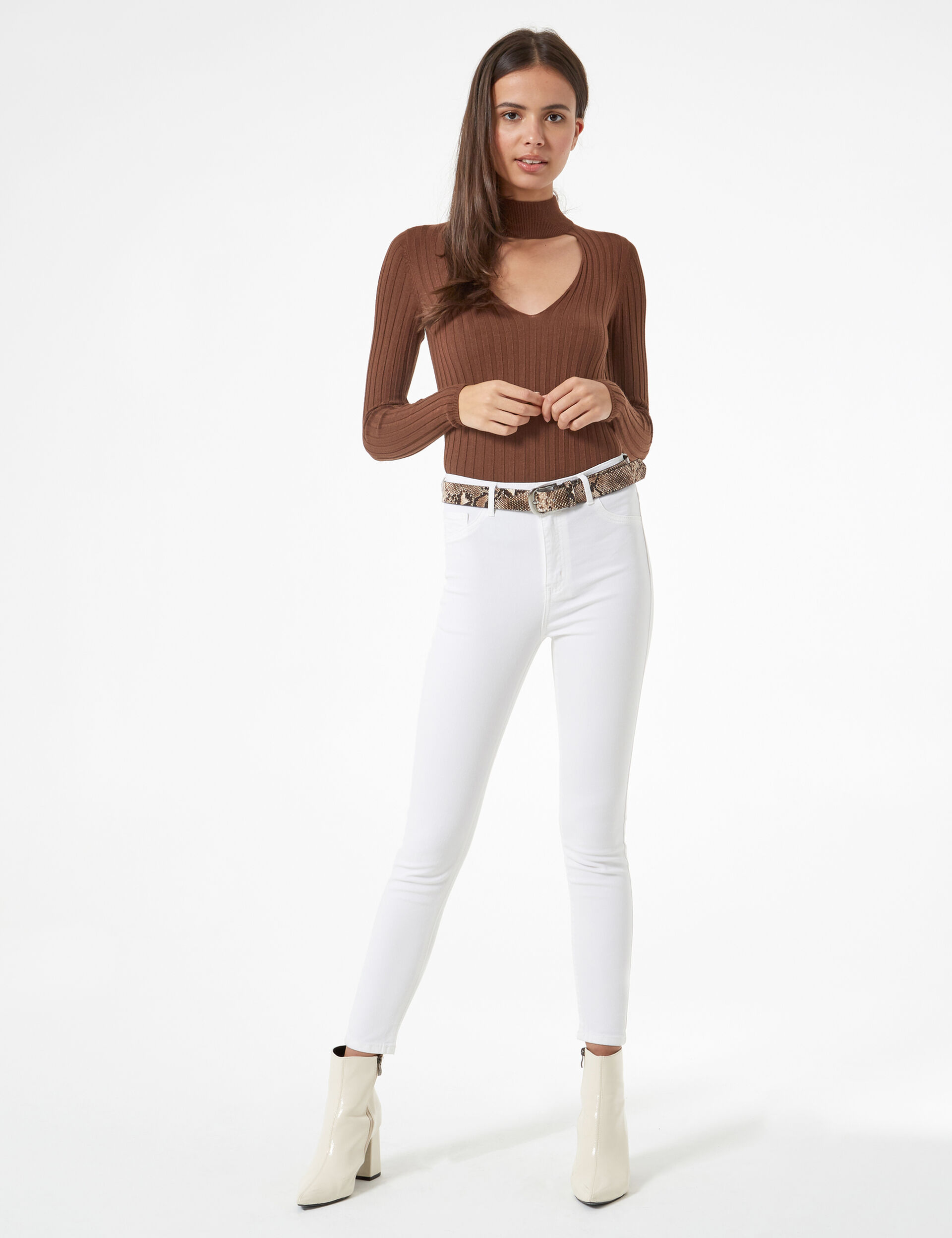 Jegging taille haute blanc